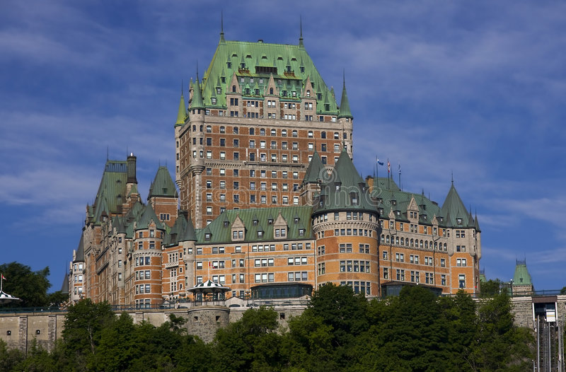 Chateau Frontenac in Quebec City, Canada. Summer view stock photos