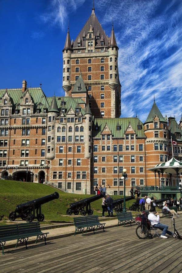 Chateau Frontenac in Quebec Frontenac Schloss lizenzfreies stockbild