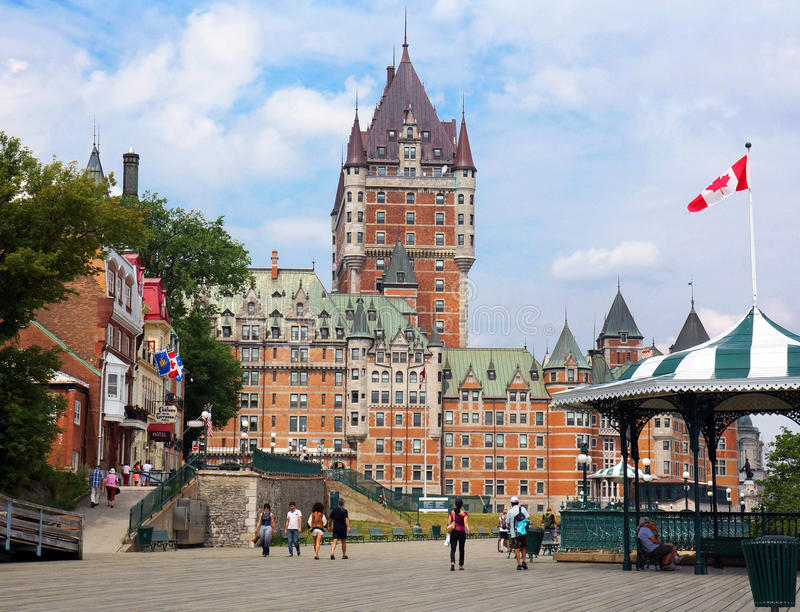Chateau Frontenac from the terrace stock photography