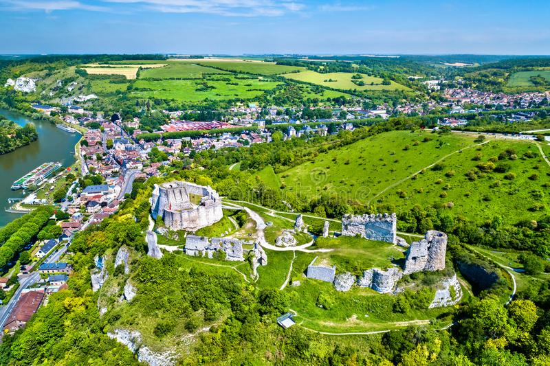 Chateau Gaillard, a ruined medieval castle in Les Andelys town - Normandy, France. Aerial view of Chateau Gaillard, a ruined medieval castle in Les Andelys town stock images