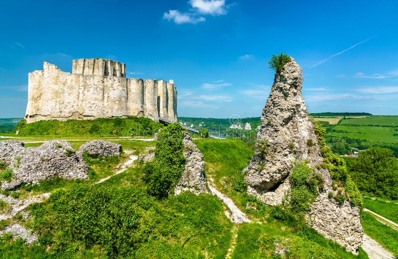 Chateau Gaillard, a ruined medieval castle in Les Andelys town - Normandy, France. View of Chateau Gaillard, a ruined medieval castle in Les Andelys town stock image