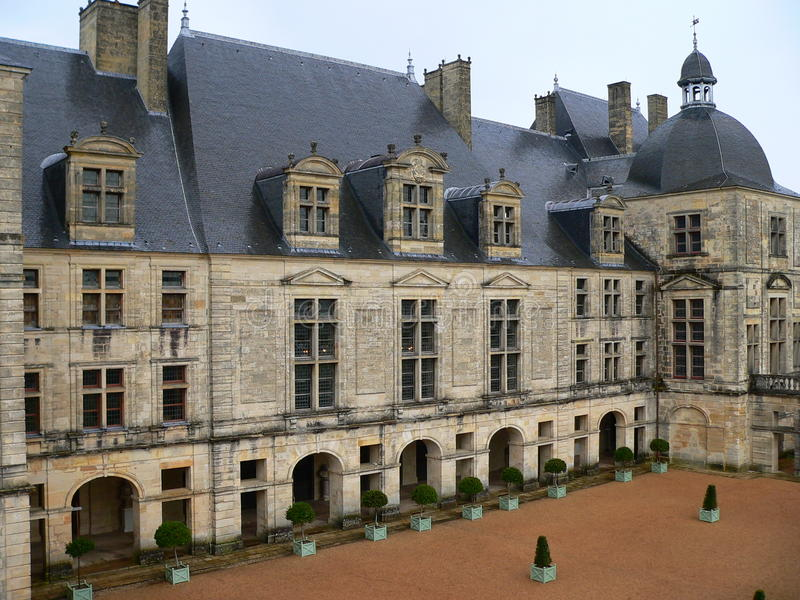 Chateau, Hautefort (Frankrijk) stock foto