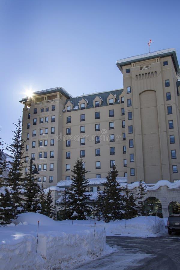 Chateau Lake Louise. Hotel Alberta Canada Winter royalty free stock photo