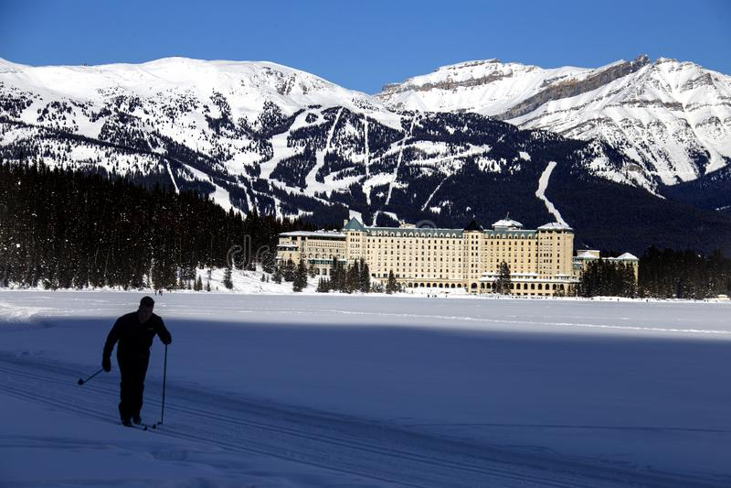 Chateau Lake Louise Ski. Chateau Lake Louise Hotel Alberta Canada Winter royalty free stock images