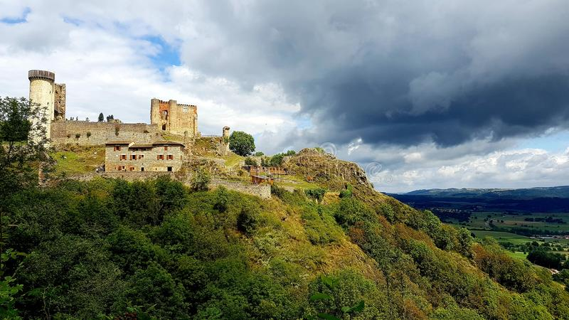 Chateau le rochebaron stock afbeelding