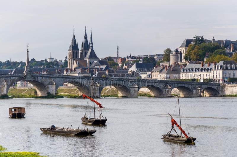 Chateau of the Loire Valley. France. Bridge Jacques Gabriel in Blois. Chateau of the Loire Valley. France royalty free stock photos