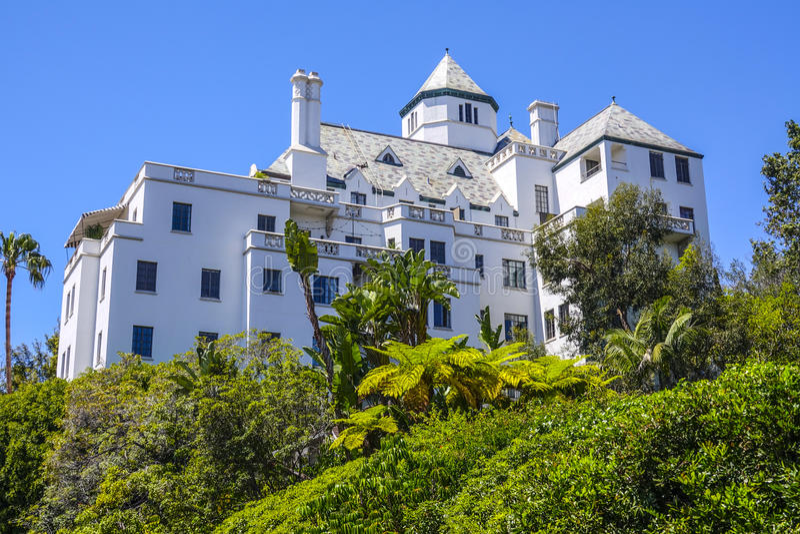 Chateau Marmont i Los Angeles - LOS ANGELES/KALIFORNIEN - APRIL 20, 2017 royaltyfri fotografi