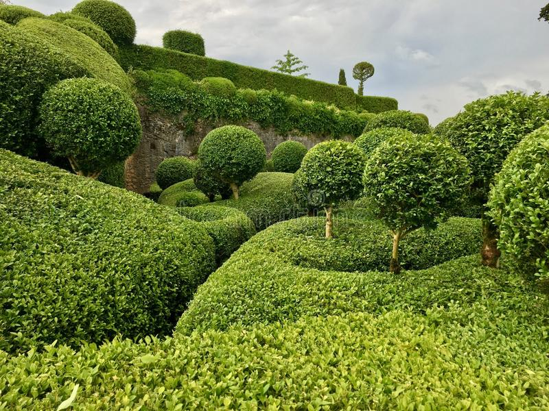 Chateau Marqueyssac garden. Clipped hedges in the chateau Marqueyssac in the Dordogne stock images