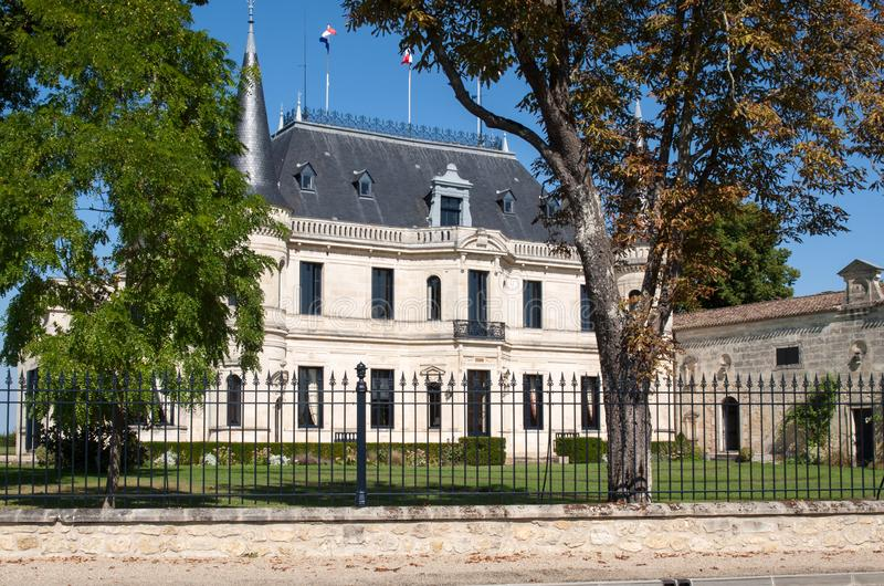 Chateau Palmer is a winery in the Margaux appellation d`origine contrôlée of the Bordeaux region of France. Margaux, France - September 11, 2018: Chateau royalty free stock photography