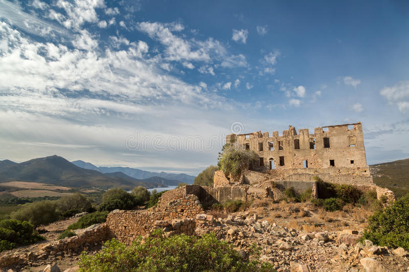 Chateau of Pierre-Napoleon Bonaparte between Calvi and Galeria i. Derelict chateau of Pierre-Napoleon Bonaparte at Torre Mozza between Calvi and Galeria with stock images