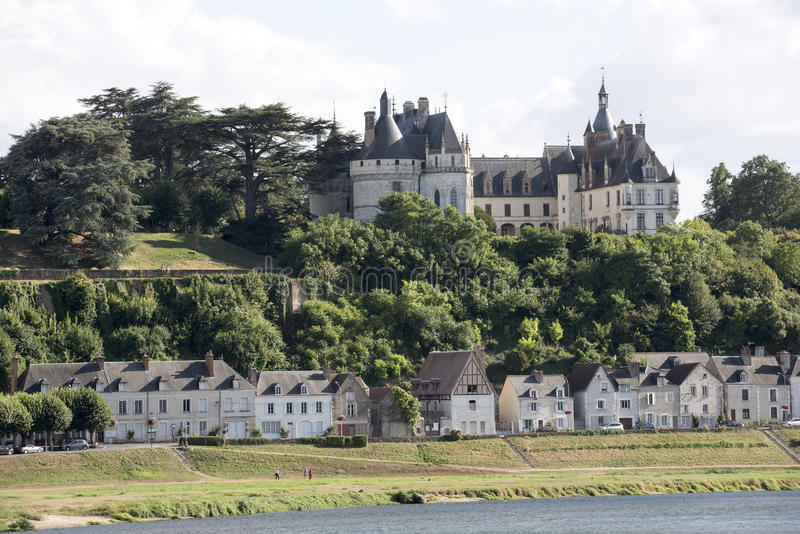 Chateau on River Loire France stock images
