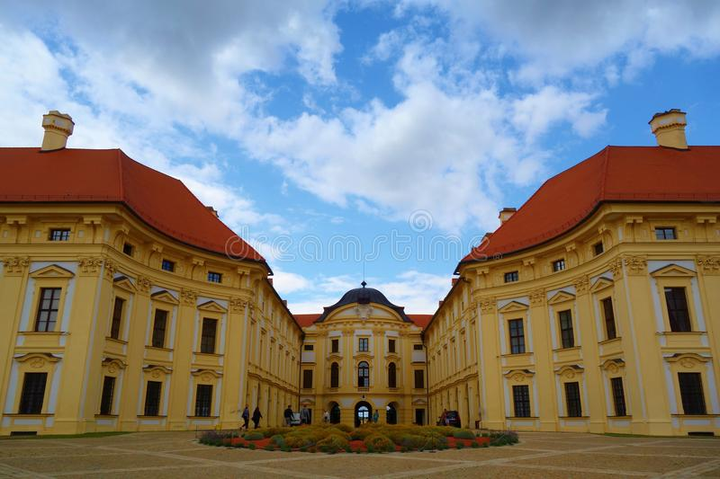 Chateau in Slavkov u Brna, Czech Republic, a Beautiful Baroque Pearl where Napoleon Concluded Peace after the Battle of Three Empe. Rors in 1805 royalty free stock photo