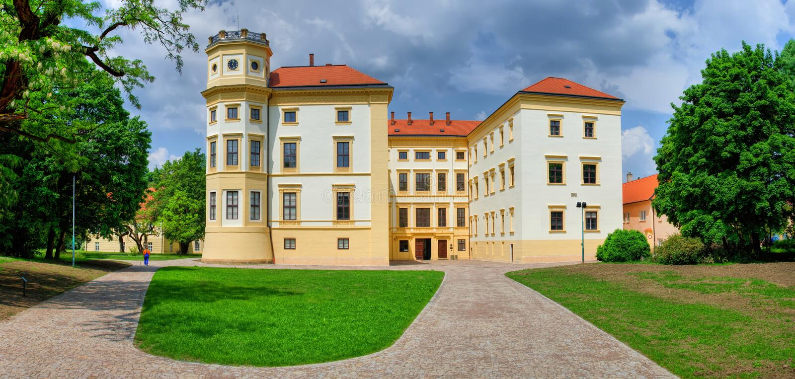 Chateau Straznice.Czech republic.Moravia. Chateau Straznice during a sunny day with blue sky and clouds.Moravia.Czech republic.Big panorama royalty free stock image