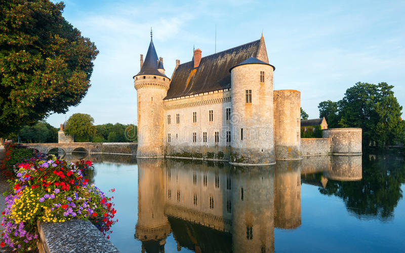 The chateau of Sully-sur-Loire at sunset, France stock photography