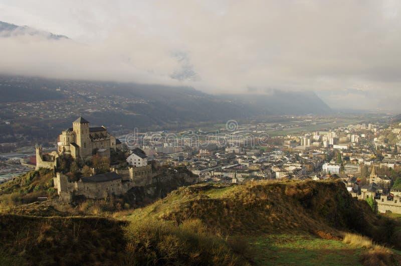 Chateau Valére, Sion, die Schweiz lizenzfreies stockbild