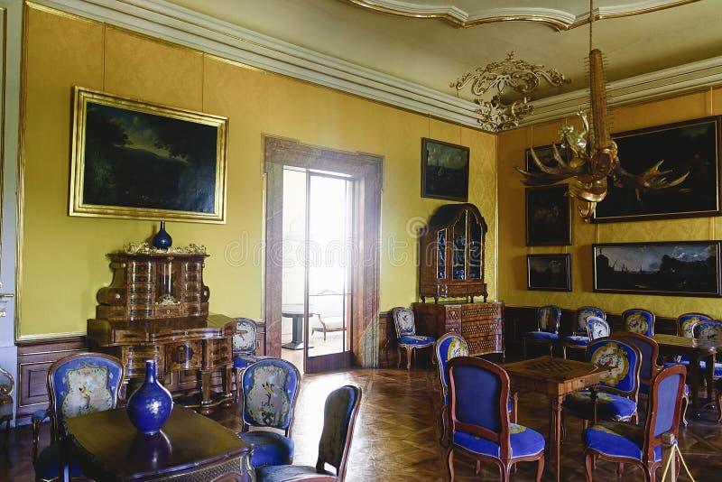 Chateau Valtice, Cultureel Landschap lednice-Valtice is de Plaatsunesco van de Werelderfenis, één van indrukwekkendste barok stock afbeeldingen