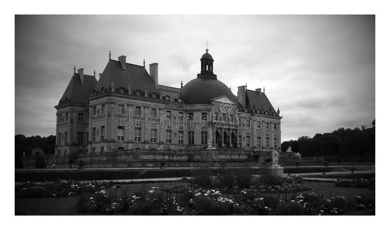 Chateau vaux le vicomte Paris France Black and White. Vaux le vicomte castle near paris. House of Fouquet under the reign of Louis XIV royalty free stock image