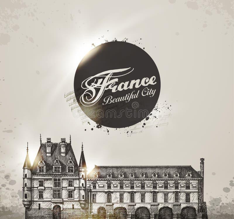 chateauchenonceau de france Loire Valley stock illustrationer