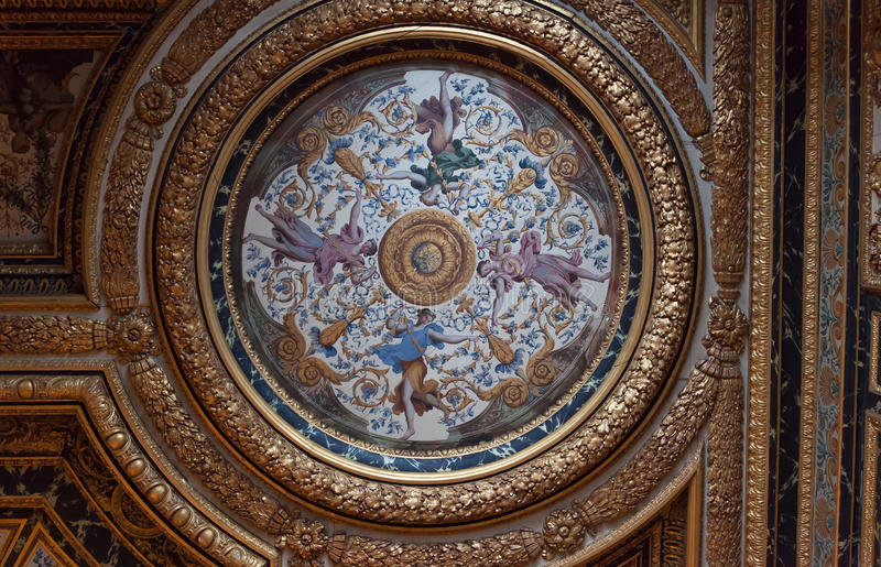 Chateaude Fontainebleau, Frankreich, Innenraumdetails stockfotos