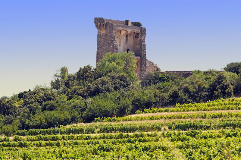 Chateauneuf du Pape. Papal seat in Chateauneuf du Pape. Chateauneuf-du-Pape is a commune in the Vaucluse department in the Provence-Alpes-Cote dAzur region in royalty free stock images