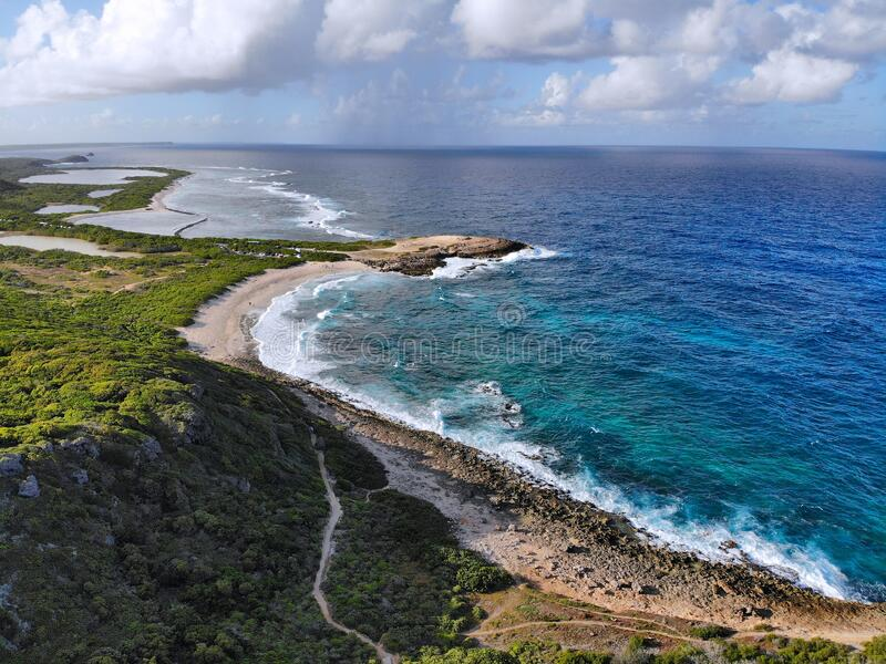 Chateaux landscape in Guadeloupe. Drone aerial view stock photo