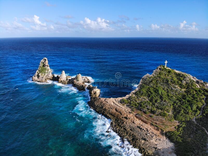 Chateaux rocks in Guadeloupe. Drone aerial view stock photos