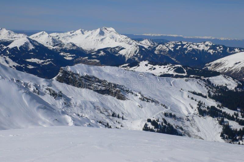 Chatel - Avoriaz skigebied stock afbeelding
