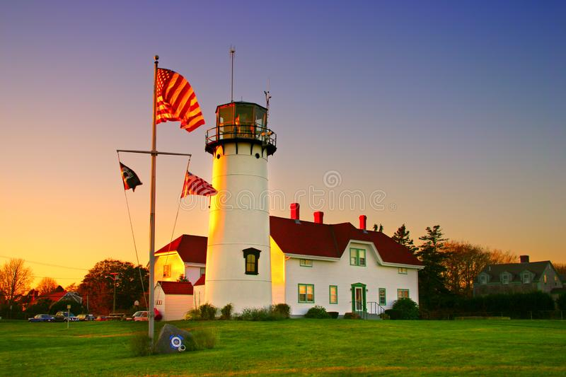 Chatham Lighhouse, Cape Cod. Chatham Lighthouse is a lighthouse in Chatham, Massachusetts, near the elbow of Cape Cod. In 1808 the first set of twin lights were royalty free stock images