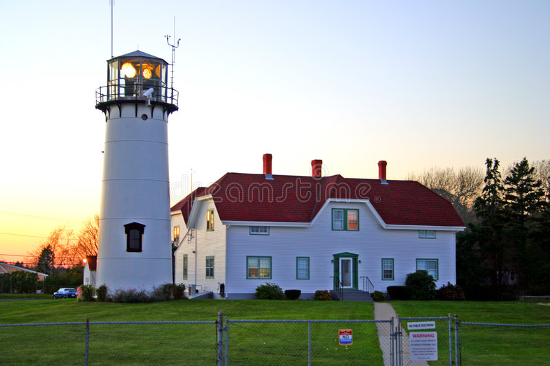 Chatham Lighhouse, Cape Cod. Chatham Lighthouse is a lighthouse in Chatham, Massachusetts, near the elbow of Cape Cod. In 1808 the first set of twin lights were stock photography