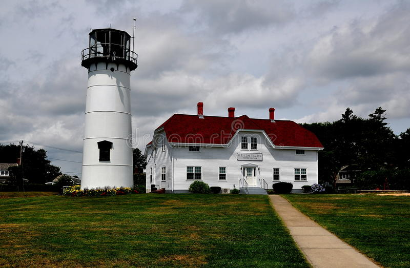 Chatham, MA: Chatham Lighthouse. Chatham, Massachusetts: Chatham Lighthouse and U.S. Coast Guard Station Headquarters royalty free stock photo