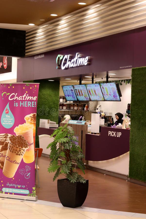 Chatime Outlet At Station18 Shopping Mall Ipoh. Offpeak business hours at Chatime outlet in Station18 shopping mall Ipoh, Perak, Malaysia. Salesgirl can be seen royalty free stock photography