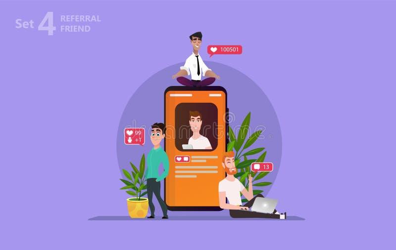 chating在智能手机屏幕上的人们使用社会媒介 皇族释放例证