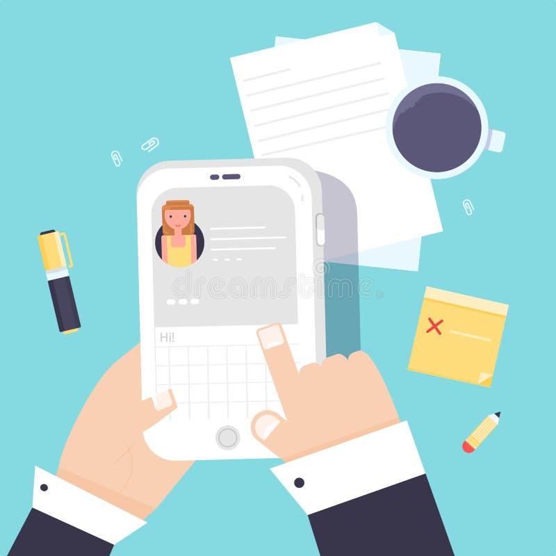Chating概念 拿着手中智能手机的人 传讯商人在工作时间 向量例证