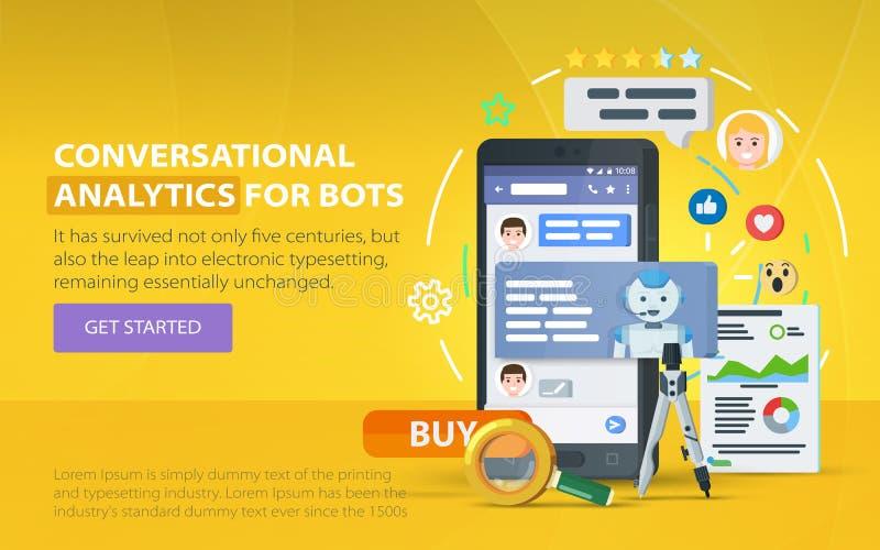 Chating e conceito da mensagem Chatbot e analítica futura do mercado Indicador do mensageiro Caixa de diálogo do telefone celular ilustração royalty free