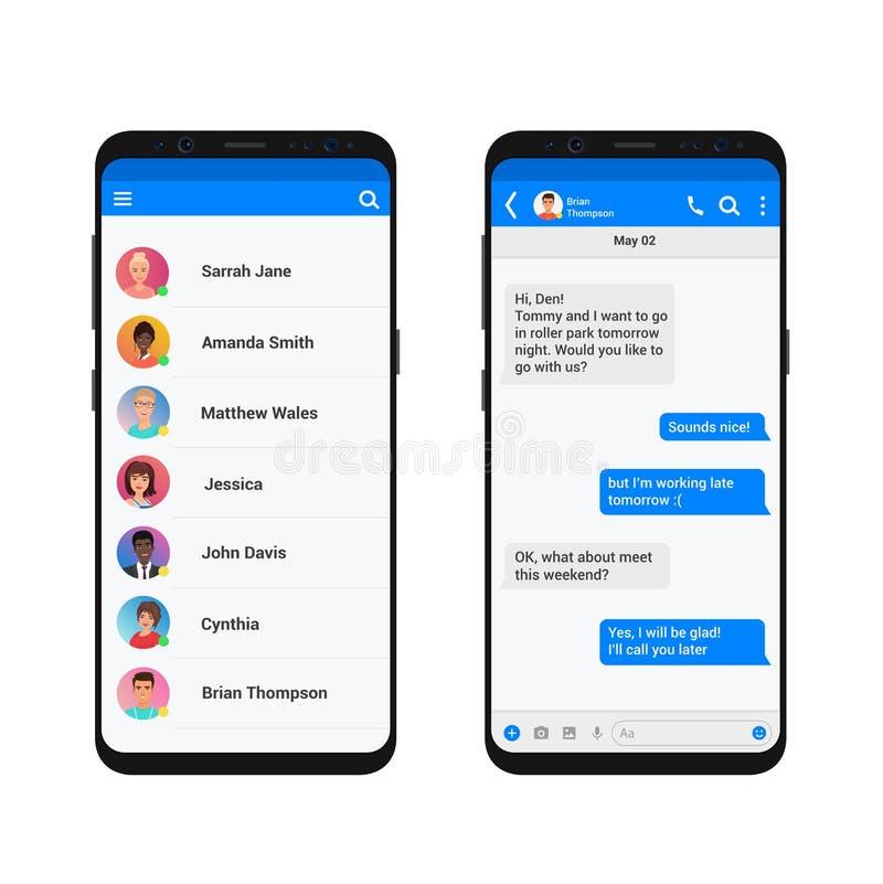 Chating i przesyłanie wiadomości wektorowy ilustracyjny pojęcie Ogólnospołecznego sieć gona nowożytny smartphone odizolowywający ilustracja wektor