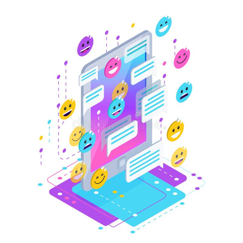 Chating. Isometric chat concept. royalty free illustration