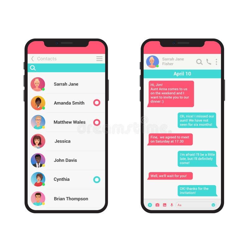 Chating und Mitteilungsvektorillustrationskonzept Bote des Sozialen Netzes moderner Smartphone lokalisiert stock abbildung