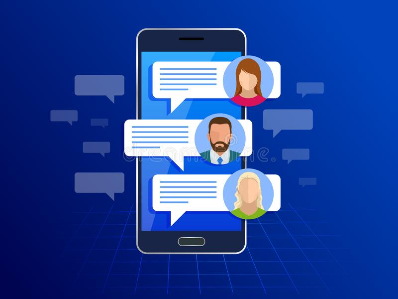 Chating y mensajería en concepto del smartphone Mensajes del SMS y burbujas del discurso Burbujas del servicio de mensaje corto V libre illustration