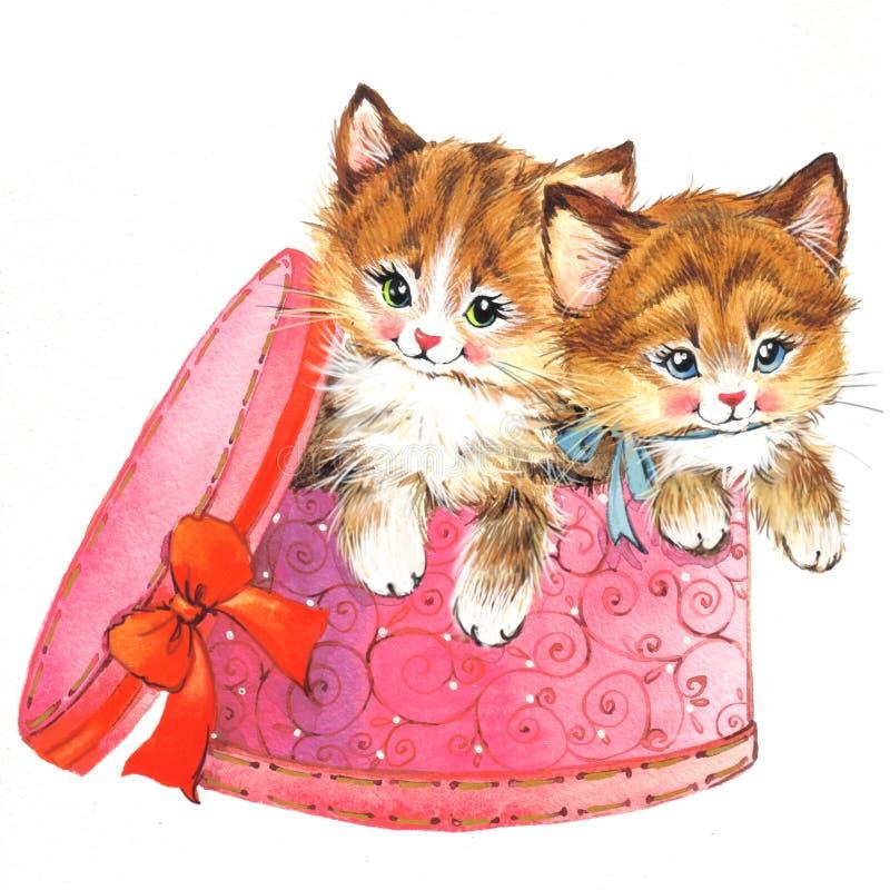 Chaton animal drôle watercolor illustration de vecteur