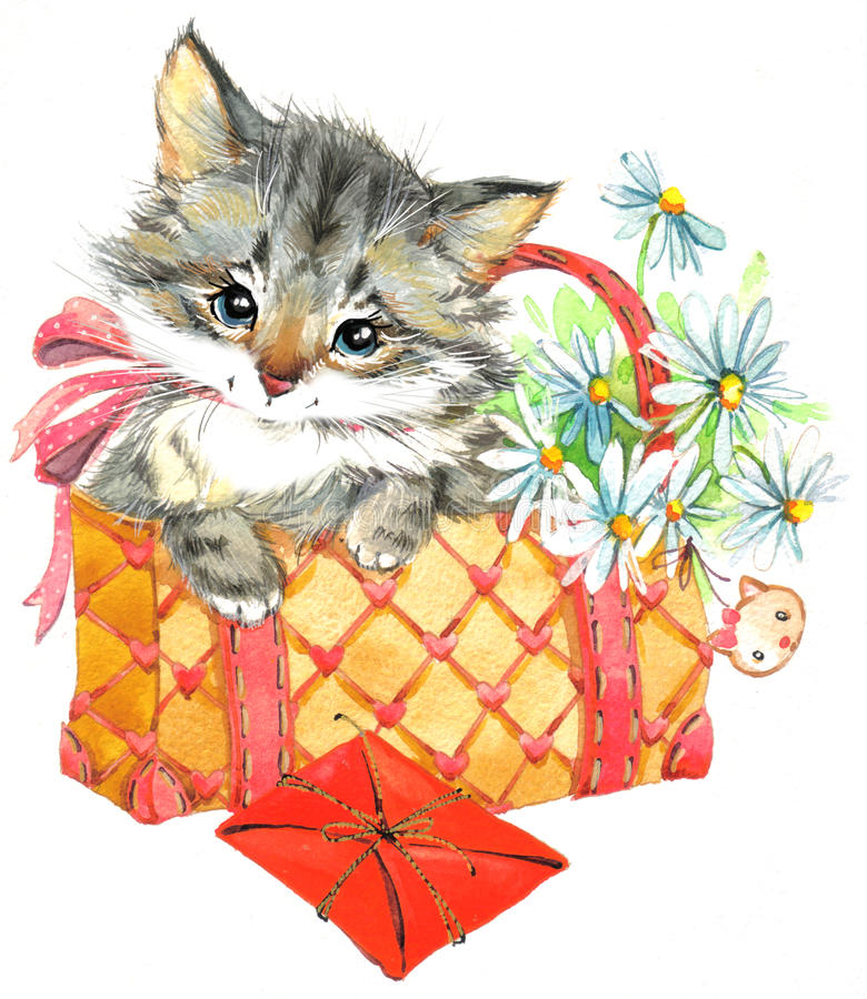 Chaton animal drôle watercolor illustration stock