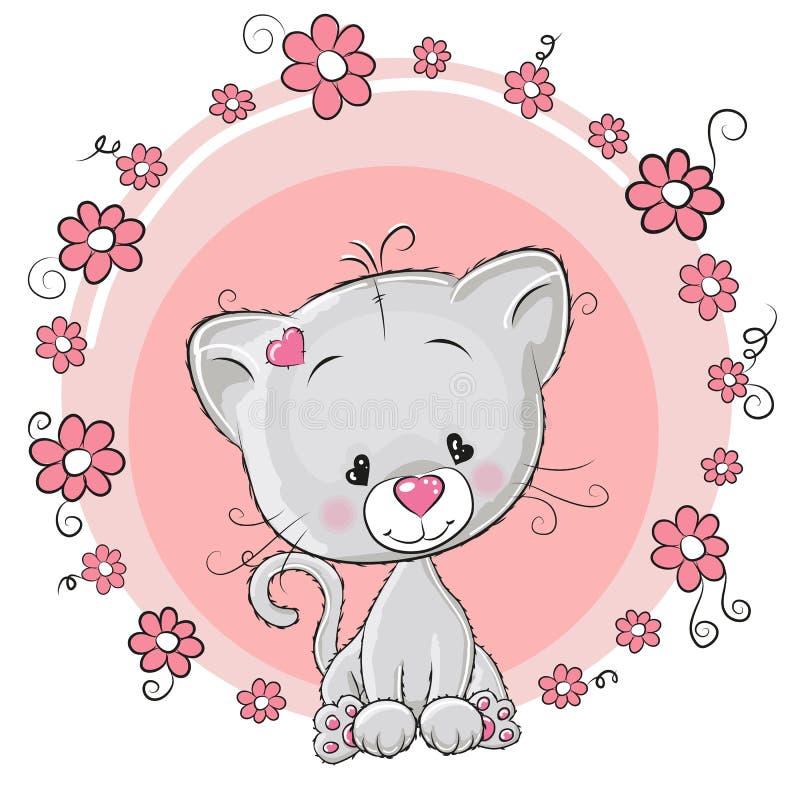Chaton avec des fleurs illustration stock