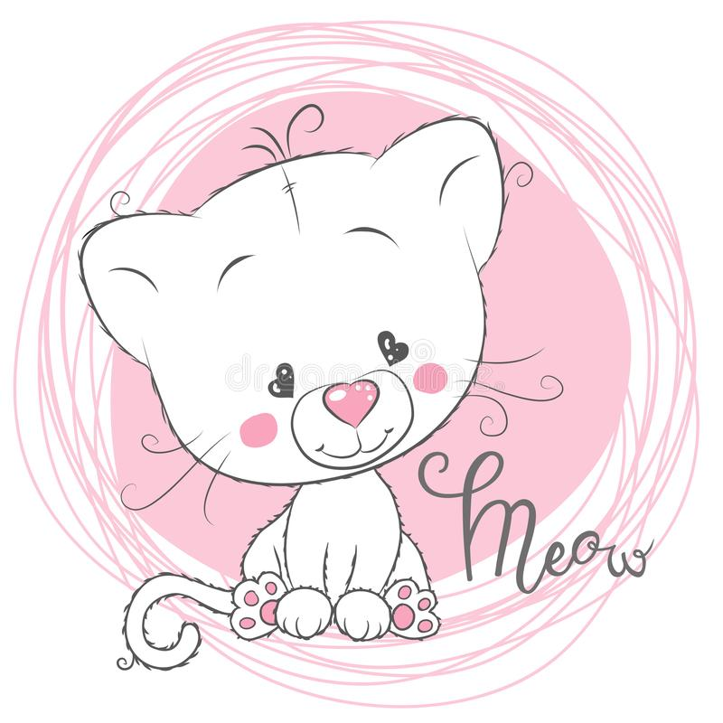 Chaton blanc mignon sur un fond rose illustration de vecteur