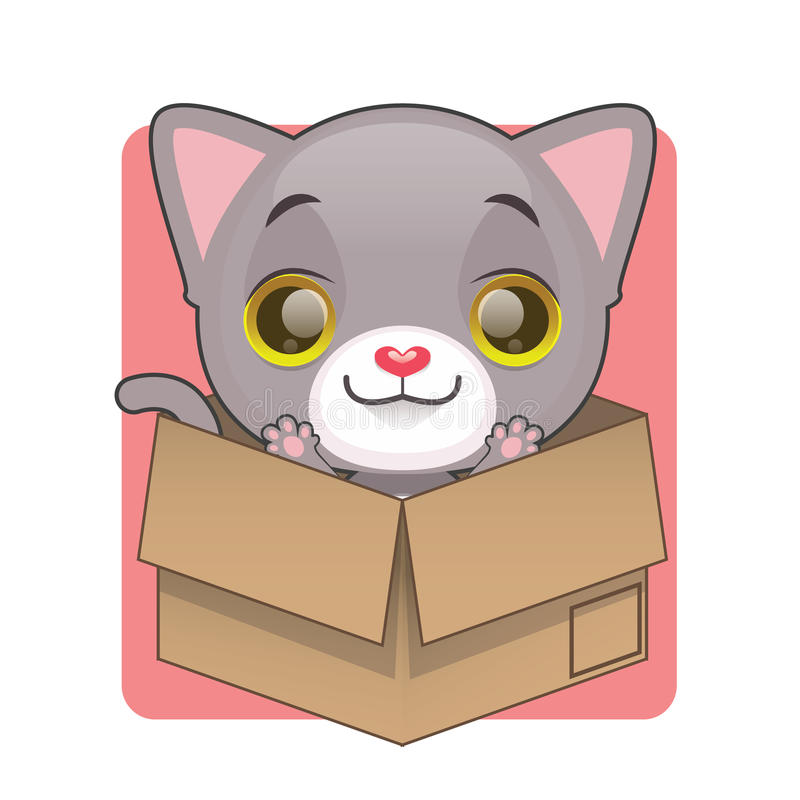Chaton gris mignon dans la boîte en carton illustration de vecteur