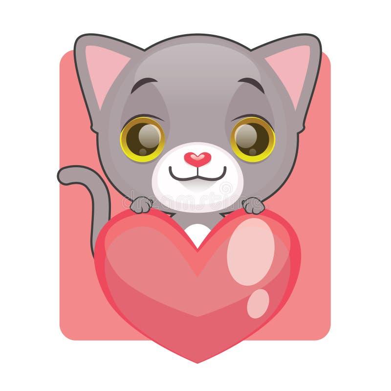 Chaton gris mignon tenant un coeur géant illustration de vecteur