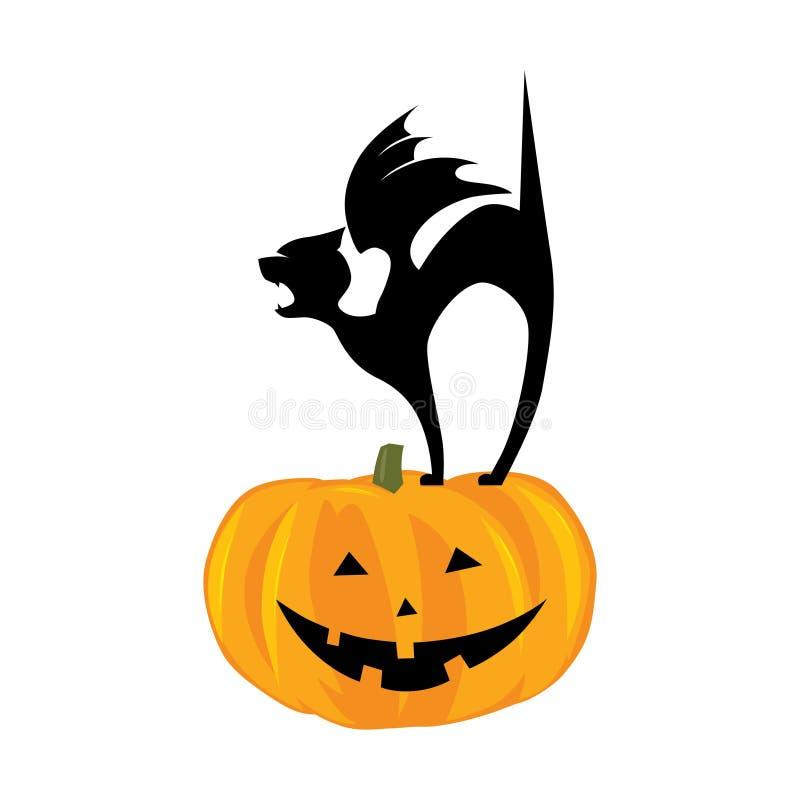 Chaton heureux de vampire d'avd de sourire de potiron illustration de vecteur