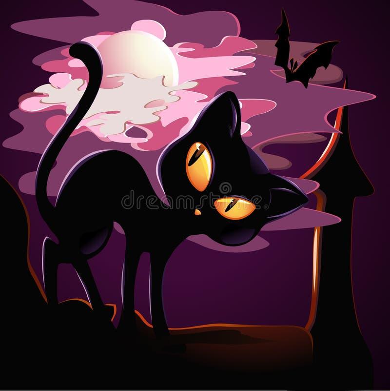 Chaton noir illustration stock