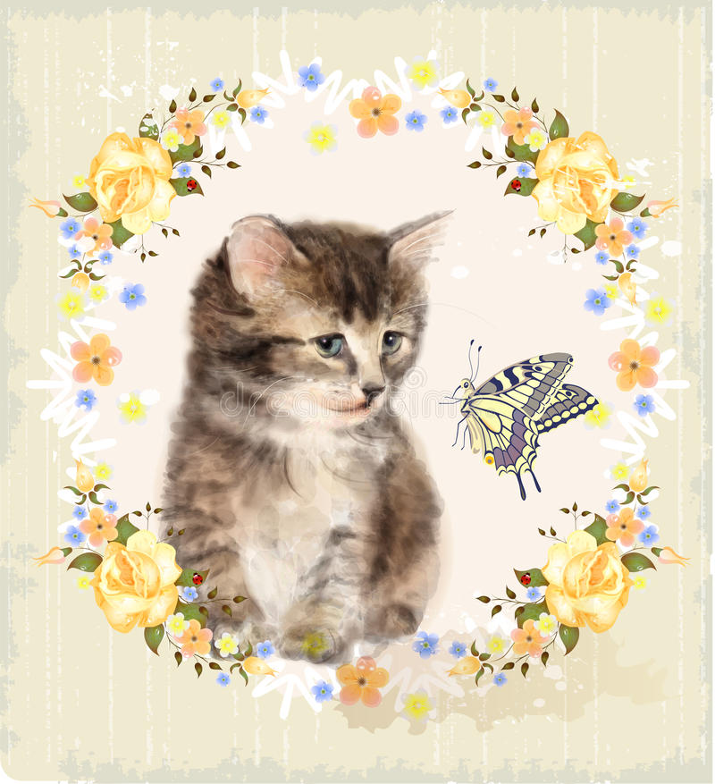 chaton, roses et papillon pelucheux illustration stock