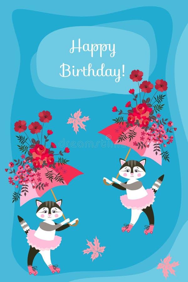 Chatons mignons avec les parapluies féeriques sur le fond bleu Carte de voeux de joyeux anniversaire Belle conception de vecteur illustration libre de droits