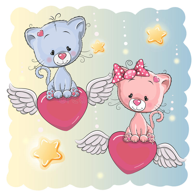 Chatons mignons d'amants illustration stock