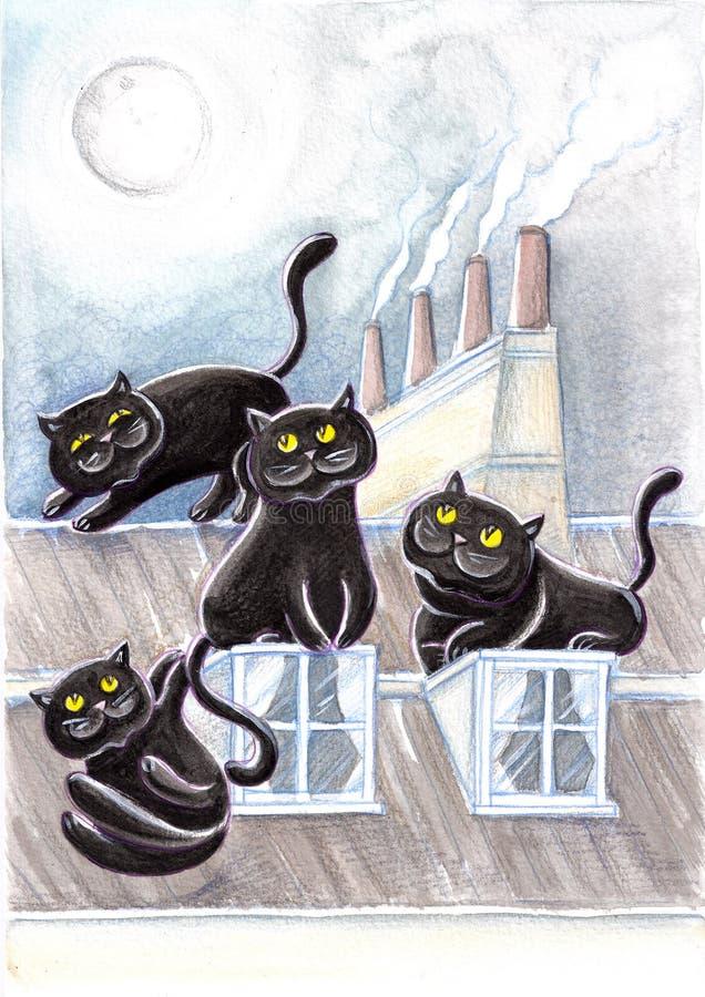 Chats égarés noirs sur les toits #2 illustration stock